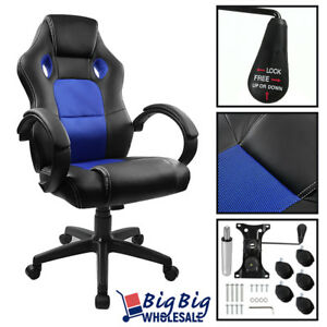 Executive Chair Gaming Racing High Back Office Computer Bucket Seats Blue