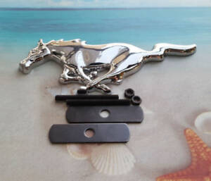 Chrome Metal Big Running Horse Front Grill Emblem Badge Grille Ford Mustang Gt