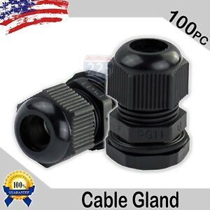 100 Pcs Pg11 Black Nylon Waterproof Cable Gland 5 10mm Dia W Lock nut