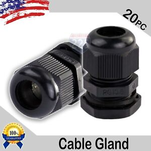 20 Pcs Pg13 5 Black Nylon Waterproof Cable Gland 6 12mm Dia W Lock nut