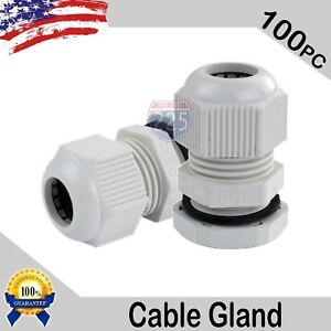 100 Pcs Pg11 White Nylon Waterproof Cable Gland 5 10mm Dia W Lock nut