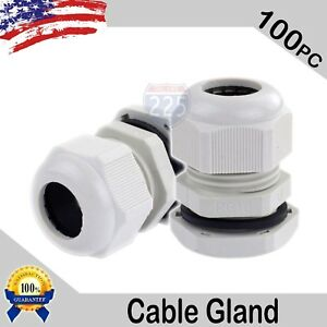100 Pcs Pg16 White Nylon Waterproof Cable Gland 10 14mm Dia W Lock nut