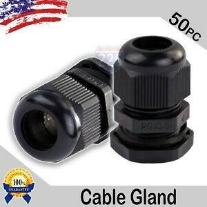 50 Pcs Pg13 5 Black Nylon Waterproof Cable Gland 6 12mm Dia W Lock nut