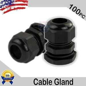 100 Pcs Pg16 Black Nylon Waterproof Cable Gland 10 14mm Dia W Lock nut