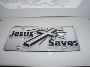 Jesus Saves God Mirror Laser License Plate Blessed Religious