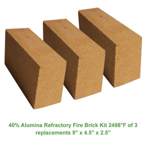 40 Alumina Refractory Fire Brick Kit 2498 f Of 3 Replacements 9 X 4 5 X 2 5