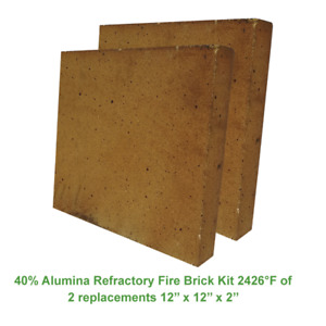 40 Alumina Refractory Fire Brick Kit 2426 f Of 2 Replacements 12 X 12 X 2