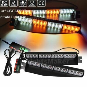 34 32 Led Traffic Advisor Warning Split Deck Dash Strobe Light Bar Amber
