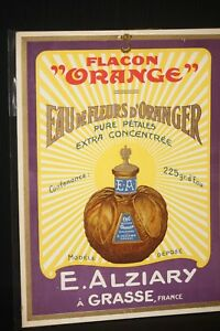 French Perfume Vintage Old Sign 1920 S Flacon Orange Alziary Grasse Glass Bottle