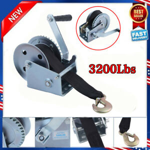 Nylon Strap Gear Hand Winch 3200lbs Hand Crank Heavy Duty Atv Trailer Boat New