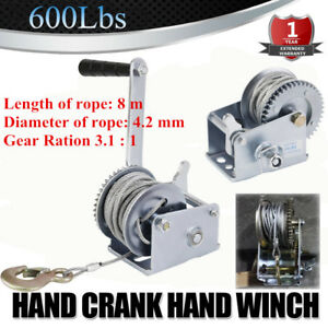 600lbs Gear Hand Winch Hand Crank Manual Boat Atv Rv Trailer 26ft Cable