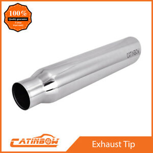 Stainless Steel Exhaust Tip Angle Cut Rolled 2 5 Inlet 3 5 Outlet 18 Long