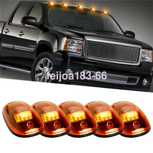 5x Smoke Roof Cab Marker Clearance Amber 12 Led Top Lights For 2003 18 Dodge Ram