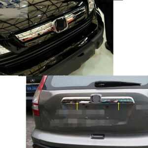 Chrome Front Grille Rear Door Trunk Gate Cover Trim For Honda Crv 2007 08 2009