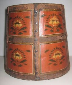 Antique 19th Century Firkin Wooden Bucket Pailtole Painted Large Iron Gorgeous