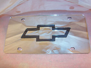 Chevy Laser License Plate Silver black New
