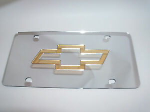 Chevy Laser License Plate Silver gold New