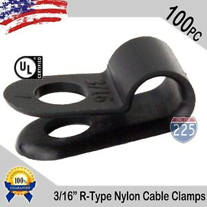 100 Pcs Pack 3 16 Inch R type Cable Clamps Nylon Black Hose Wire Electrical Uv