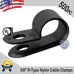 500 Pcs Pack 3 8 Inch R type Cable Clamps Nylon Black Hose Wire Electrical Uv