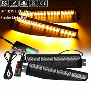 34 32 Led Traffic Advisor Warning Flashing Split Deck Dash Windshield Light Bar