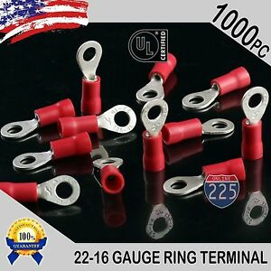 1000 Pack 22 16 Gauge 8 Stud Insulated Vinyl Ring Terminals Tin Copper Core Us