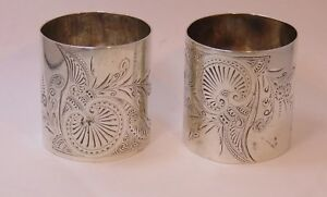 Pair Of Wide Heavy Engraved Sterling Aesthetic Napkin Rings A Stowell