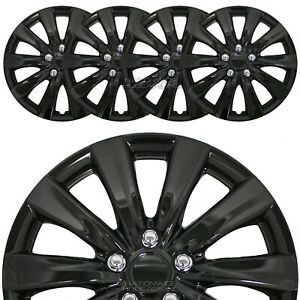 16 Set Of 4 Black Wheel Covers Snap On Full Hub Caps Fits R16 Tire