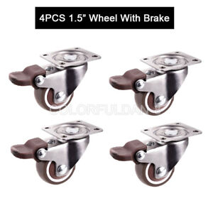 4pcs Swivel Casters 1 5 Wheels With Brake Load Bearing 25kg pcs For Furniture