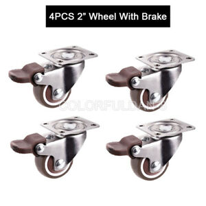 4pcs Swivel Casters 2 Wheels With Brake Load Bearing 30kg pcs For Furniture