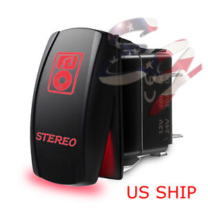 Led Waterproof Red Rocker Switch Laser Etched 12v 20a Stereo Light Car Marine