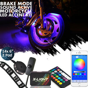 16pcs Blue tooth Multi color Flexible Strip Motorcycle Car Led Neon Lighting Kit