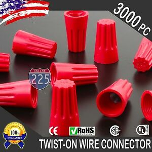3000 Red Twist on Wire Gard Connector Conical Nuts 18 10 Gauge Barrel Screw Us