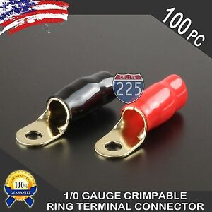 0 Gauge Gold Ring Terminal 100pcs 1 0 Awg Wire Crimp Red Black Boots 5 16 Stud