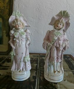 Antique French Wwi Parian Vitrified Bisquit Porcelain Pair Of Figurines