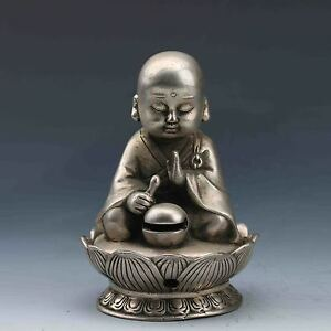 Chinese Miao Silver Hand Carved Incense Burner Seated Buddha Lid