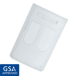 Rigid Hard Plastic Two Card Vertical Id Badge Holder W Thumb Holes Top Load