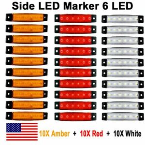 10x Red 10x Amber 10x White 12v 6 Smd Side Truck Trailer Led Marker Light Us