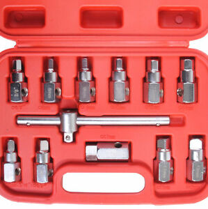12pc Oil Drain Plug Sump Tool 3 8 Wrench Socket Key Set Filter Gearbox