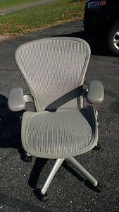 2 Herman Miller Refurbished Aeron Gray B Chairs