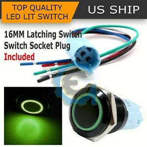 Bsf 16mm Green Angel Eye Led 12v Latching Push Button Power Switch Waterproof