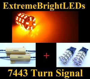 Two Amber 7440 7443 60 smd Led Turn Signal Lights 2 Load Resistors