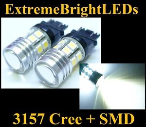 Two Xenon Hid White 3156 3157 Cree Q5 12 smd Backup Lights 80c
