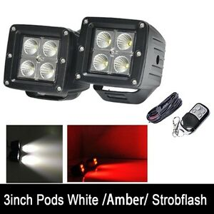 2x 3 Red White Dual Color Led Work Light Suv Cube Pods Flood Beam Strobe Remote