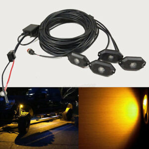 4 Pods Cree Amber Led Rock Lights Offroad Strobe Flash Chasing Wiring Harness