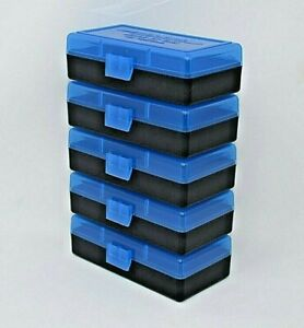BERRY'S PLASTIC AMMO BOXES (5) BLUE 50 ROUND 9mm380