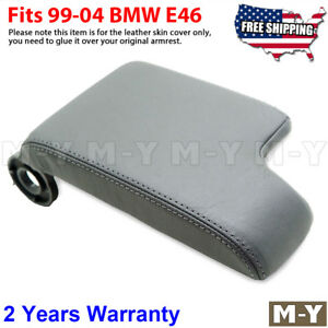 Fit 1999 2004 Bmw E46 3 Series Leather Console Lid Armrest Cover Skin Light Gray