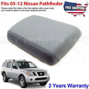 Fits 2005 2012 Nissan Pathfinder Leather Center Console Lid Armrest Cover Gray