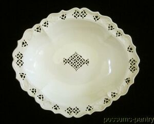 Antique English Creamware Leeds Type Reticulated Fruit Stand Comport Cream Ware