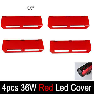 4x Snap On Red Lens Cover For 7 Inch 36w Led Light Bar Offroad 12 72w 22 144w