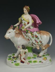 19c Dresden Volkstedt Figurine Vase Europa And Bull Worldwide